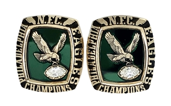 "1980 Philadelphia Eagles Super Bowl XV ""NFC"" Champions 10K Gold & Diamond Cuff Links!"