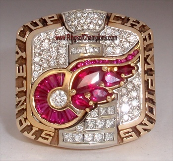 "2002 Detroit Red Wings ""Stanley Cup"" Champions 10K Gold Ring w/ *Genuine* Diamonds & Rubies!"