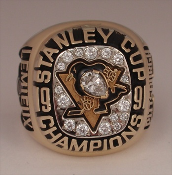 "1991 Pittsburgh Penguins ""Stanley Cup"" Champions 10K Gold Ring"