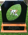 "George Achica's 1982 ""Morris Trophy"" (Most Outstanding Lineman Award)!"