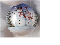 RAZ - 4.5 Inch Snowman Ball Single Ornament
