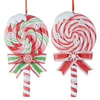 "RAZ Imports - 5"" Lollipop Ornaments - Set of 2"