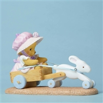 Cherished Teddies - Bunny Pulling Cart w/Bear - 4051038