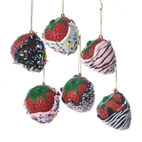 "Kurt Adler - 2"" Chocolate Covered Strawberries Ornaments - Set of 6"