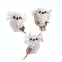 Kurt Adler - Cream colored Owl Ornaments - Set of 3
