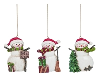 Festive Snowman Ornaments - Set of 3