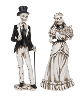 "GANZ - Skeleton Bride And Groom Figurines - 10"" - Set of 2"