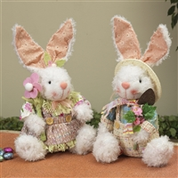 Gerson - 9 Inch Sitting Fabric Bunnies - Set of 2