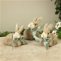 "Gerson - 5"" Natural Grass Easter Bunny Figurines with Bows - Set of 3"