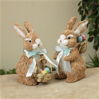 "Gerson - 8.75"" Natural Grass Easter Bunny Figurines with Easter Baskets - set of 2"