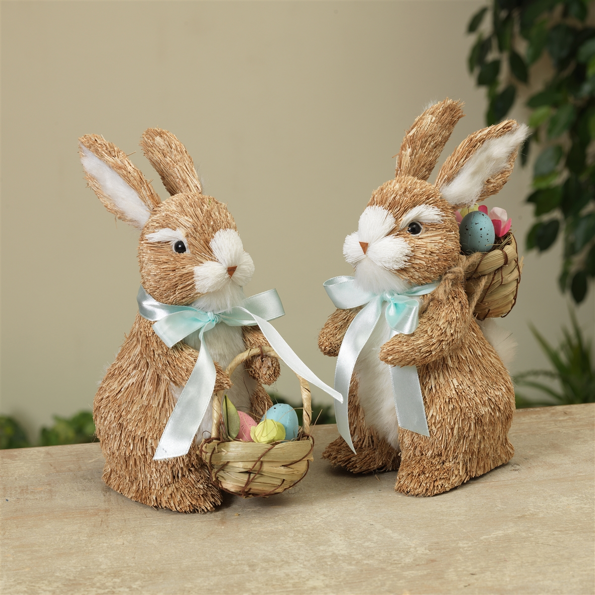 decortive ester ccents easter rabbit decor bunny.htm gerson 8 75  natural grass easter bunny figurines with easter  natural grass easter bunny