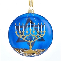 Kurt Adler - Glass  Hanukkah Disc Ornament, 100-mm / 3.94 inch
