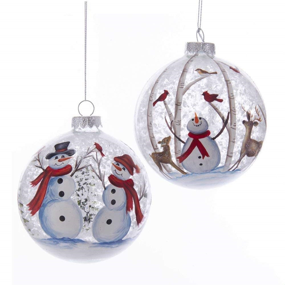 Kurt Adler Glass Snowman Deer Scene Ball Ornaments Set Of 2