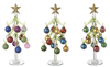 Glass Trees with Miniature Ornaments Set of 3 - Ganz - 10 inches