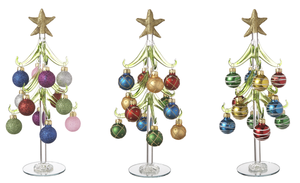 Glass Trees With Miniature Ornaments Set Of 3 Ganz 10 Inches