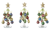 Glass Trees with Miniature Ornaments Set of 3 - Ganz - 8.25  inches