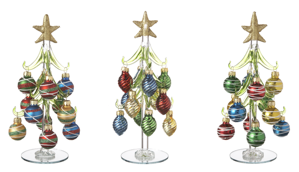 Glass Trees With Miniature Ornaments Set Of 3 Ganz 825 Inches