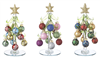 Glass Trees with Miniature Ornaments Set of 3 - Ganz - 6.00  inches