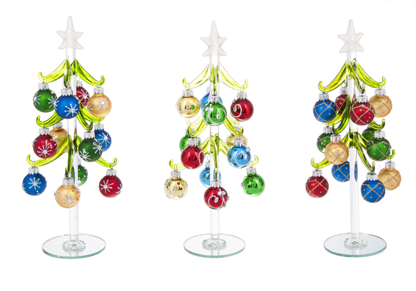 Glass Trees With Miniature Ornaments Set Of 3 Clear Star Ganz 10