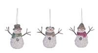 Transpac - Happy Glitter Snowman Ornaments - Set of 3