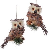 "Ice Owl Ornament - 7"" - set of 2"