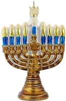 Kurt Adler - Noble Gems Gold Menorah Hanukkah Ornament