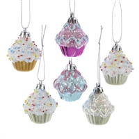 "Kurt Adler - 2"" Cupcake Ornaments - Set of 6"