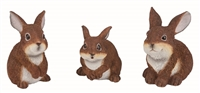 Large Resin Brown Bunny Figurines - Set of 3