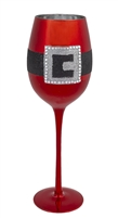Grasslands Road - Metallic Red Santa Belt Wine Glass