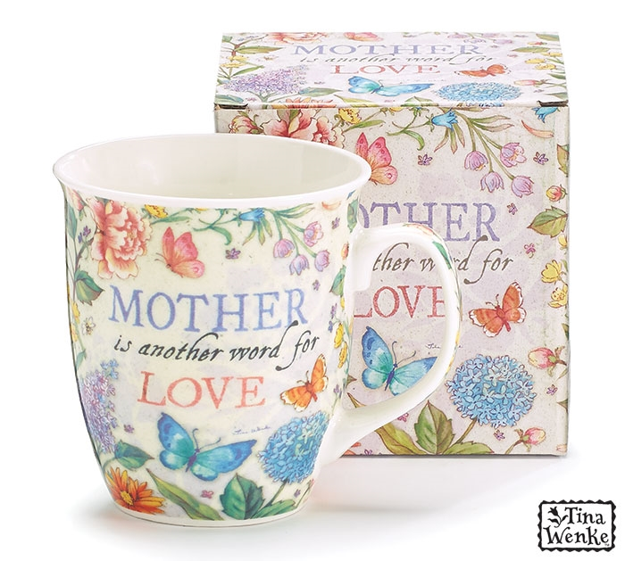 mother is another word for love flowered mug