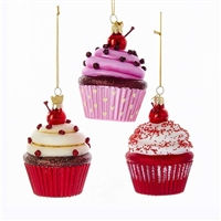 Kurt Adler - Noble Gems Glass Cupcake Ornaments - Set of 3