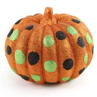Orange Glitter Pumpkin with black and Green Dots