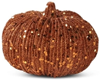 K&K Interiors 8 Inch Orange Glitter Pumpkin