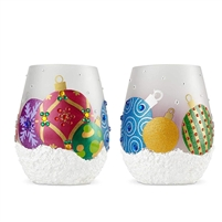 Lolita - Stemless Wine Glasses - Ornaments in the Snow - Set of 2