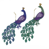 Kurt Adler - Peacock Ornaments - Set of 2