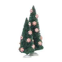 Peppermint Lit Sisal Trees