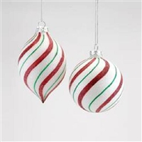 Peppermint Striped Glass Ornaments