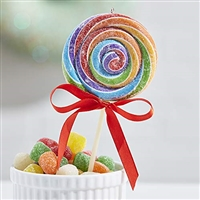 "RAZ Imports - 7"" Rainbow Swirl Lollipop Ornament"