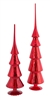 Red Glass Table Top Finials - Set of 2