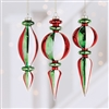 Red, White and Green Striped Finial Ornaments