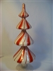 Red and White Glass Table Top Finial - 11""