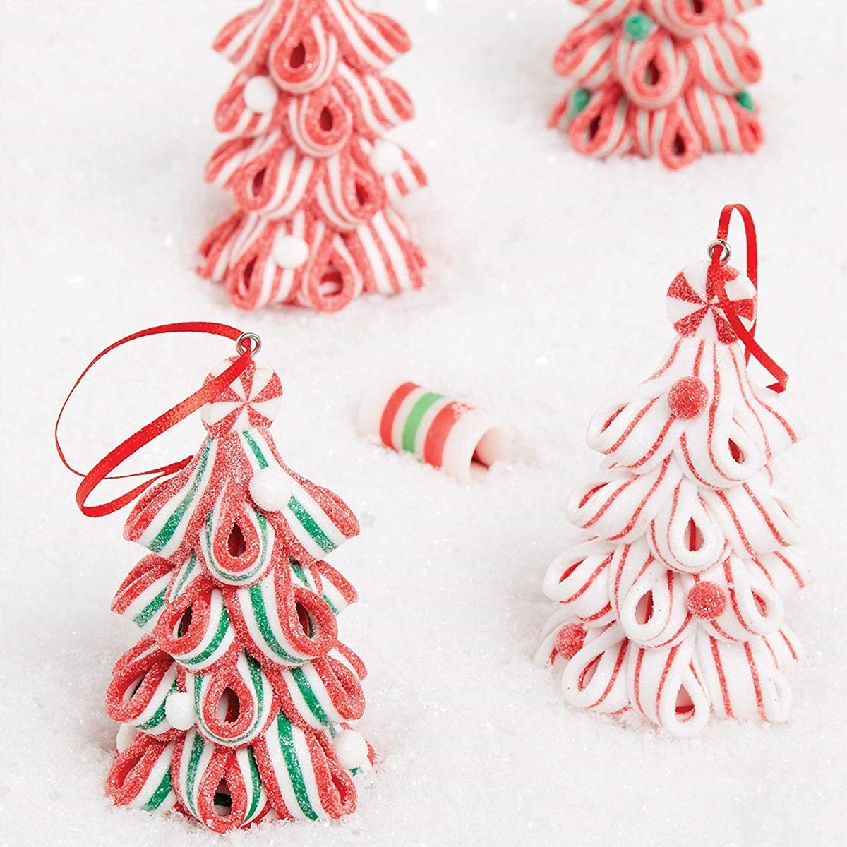 Raz Imports Ribbon Candy Tree Ornaments Set Of 4