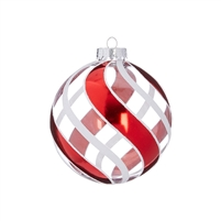 "RAZ Imports - 4.5 "" STRIPED GLITTER BALL ORNAMENT"