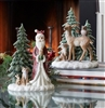 Santa and Deer in the Woods with Friends - Set of 2
