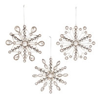 Grasslands Road - Silver Snowflake Ornaments - Set of 3