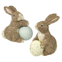 Sisal Easter Bunnies with Egg - Set of 2