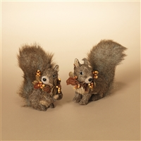 Gerson - Sisal and Fur Squirrel Figurine - set of 2