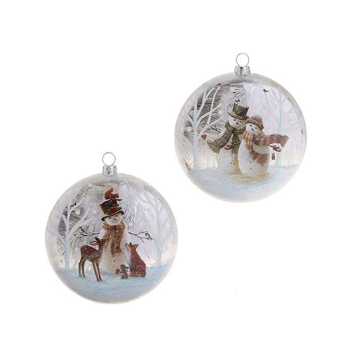 Raz Imports Snowman and Christmas Tree Deer Animals Disc Ornaments Set of 2