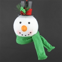 Snowman Head with Green Scarf Ornament