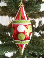 Teardrop Dotted and Striped Christmas Ornament